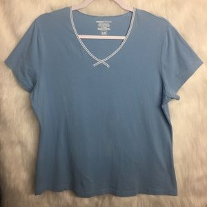 Basic Editions Sky Blue Stretchy V-Neck Top Large